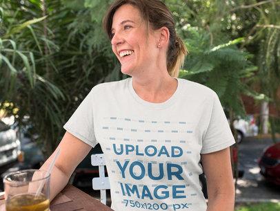 Mom Having a Tea While Wearing a T-Shirt a15769