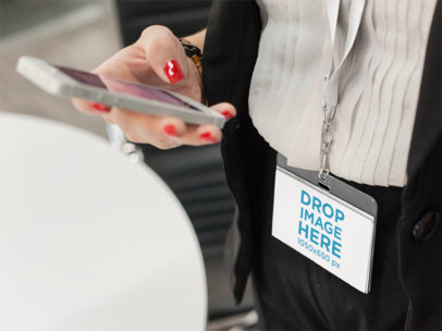 Woman Carrying a Badge Holder Mockup While Leaving the Office a15150