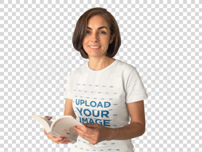 Hispanic Middle Aged Woman Reading a Book and Wearing a Round Neck T-Shirt Mockup While Against a Solid Surface a15874