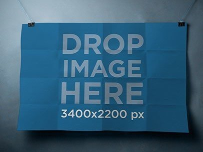 Poster Mockup Being Held in a Horizontal Position By Paper Clips a6315