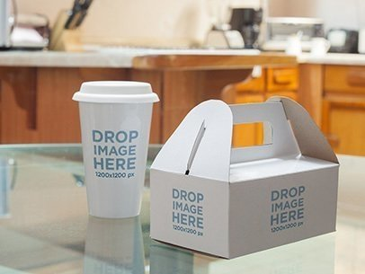 Label Mockup Featuring a Takeaway Coffee Cup and Paper Food Box a6718