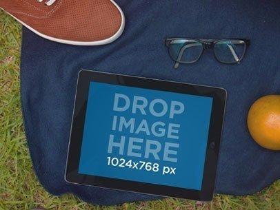 Black iPad Grass And Glasses
