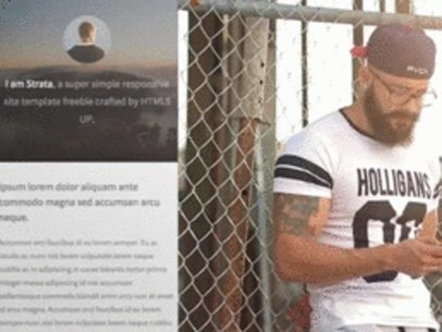 Hipster Man Leaning on a Wire Fence App Demo Video a8182