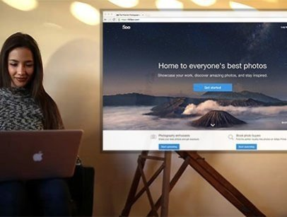 Woman at a Photo Studio Using a Macbook Pro App Demo Video 8471a