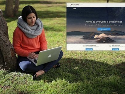 Young Woman at a Park Using a Macbook App Demo Video 8630a