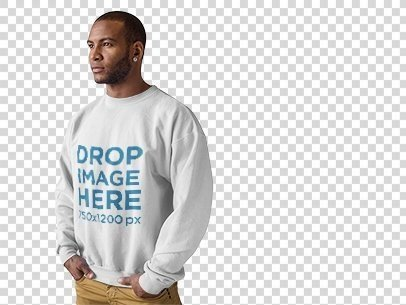 Crewneck Mockup of a Man Standing in Front of a White Backdrop a9818