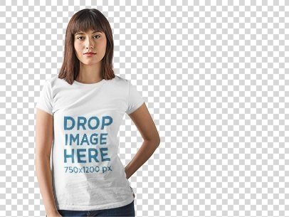 T-Shirt Mockup of a Young Woman Posing at a Photo Studio a9899