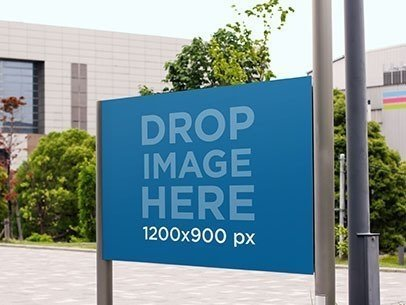 Horizontal Banner Mockup in an Urban Environment a10456