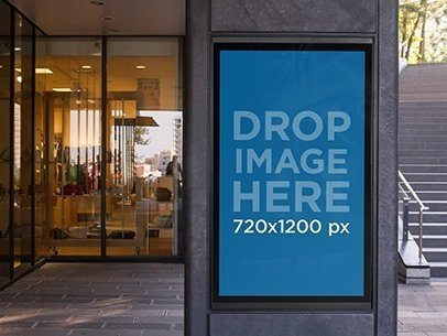 Vertical Banner Mockup Outside a Department Store a10480