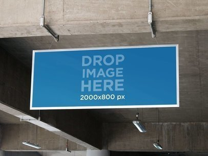 Banner Mockup Hanging From a Parking Lot Ceiling a10537