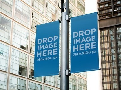 Mockup Template of a Set of Banners Hanging From a Street Lamp a10514