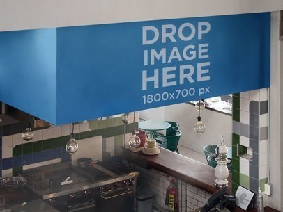Mockup Template of a Horizontal Banner in a Kitchen a10840