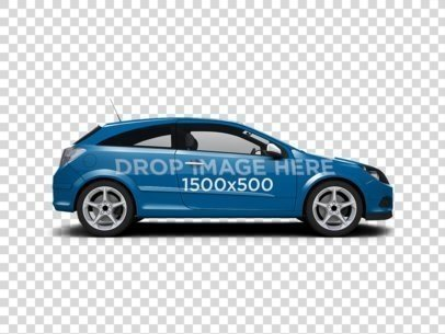 Hatchback Car Wrap Mockup Over a Transparent Background 116622
