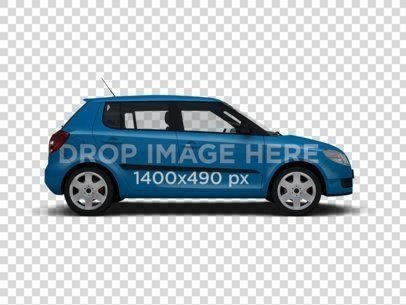 Car Wrap Mockup of a Small Four Door Car 11659