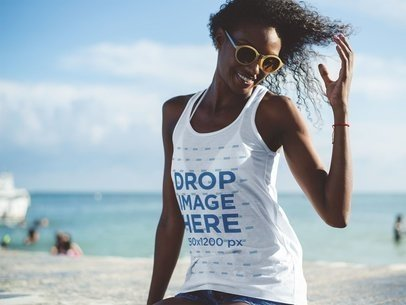 Tank Top Mockup of a Beautiful Black Woman Flpping Her Hair at the Beach a12738