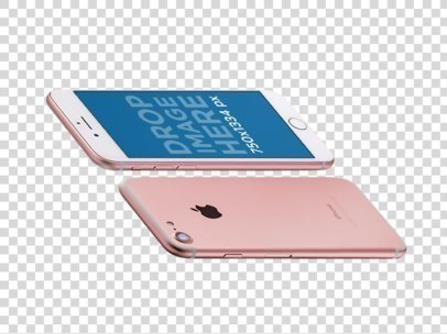 Transparent Mockup Of Two Pink iPhones Floating Angled Horizontally a14103