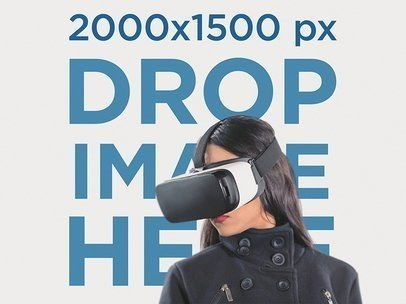 Young Girl With an Oculus Gear VR Device Mockup a14185