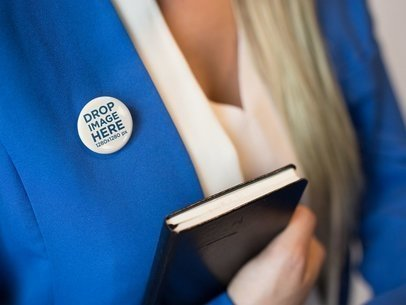 Button on a Blonde Secretary Blue Suit Mockup a14284