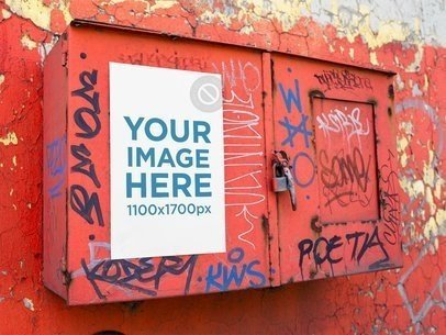 Template of a Poster on a Red Metal Box with Graffities a14409