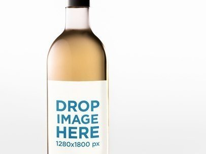 Closeup Label Template of a White Wine Bottle Against a White Background a14682