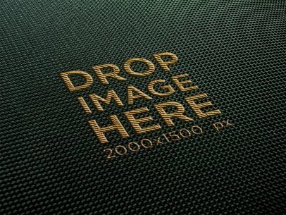 Yellow Embroidery Logo on Black Fabric Texture Template a14813