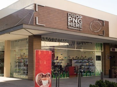 Storefront Logo Mockup at an Open Mall a14854