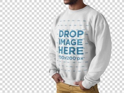 Mockup of a Young Man Wearing a Crewneck Sweatshirt While Standing Against a Transparent Background a9818