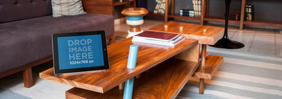 iPad Sitting on Top of a Coffee Table at a Contemporary Office Mockup a4926